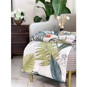 'GREEN LEAF' SUMMER COTTON QUILT/BLANKET