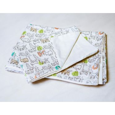 "ORGANIC BABY DUVET COVER SET CRIB SIZE  ""FOREST ANIMALS"""