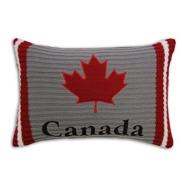 YES CANADA KNIT GREY CUSHION