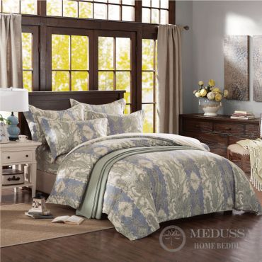 Hera's Palace (CalmingHue) This luxury 100% Cotton Sateen bedding set, designed and Woven in Japan, is made of extra-long staple fiber combed cotton, the highest standard of cotton in the world.