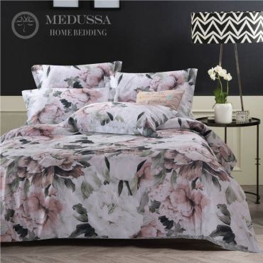 It is made of 100% Combed Cotton Sateen, which is one of the most popular supreme fabrics for high-end bedding. It has a silky fine, soft and smooth touch, with a luster finish.