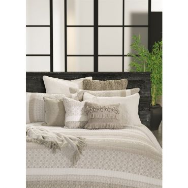 The light tone shades of this bedding recall peace and serenity. Quilted duvet cover in shades of ivory and taupe with velvet inserts. Reversible. Can be used by itself or with a duvet inside to increase warmth