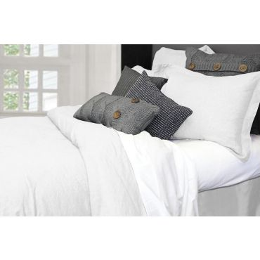 100% Linen-Morgan Duvet Cover Set-Bleached white