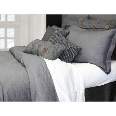 100% Linen-Morgan Duvet Cover Set-Grey