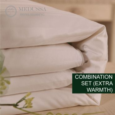 Pearl Double-Cocoon Mulberry Silk Duvet 1+1=3 Combination Set (Extra Warmth)