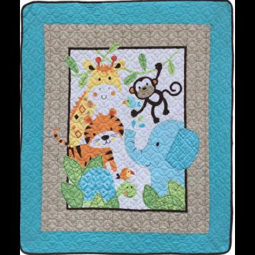 全棉儿童绗缝被/毯: 43*51'' (110*130cm)  100% 全棉胎套和填充