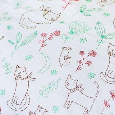 """有机全棉加拿大制造被套套件(婴幼儿床尺寸) """"GARDEN CATS"""""""