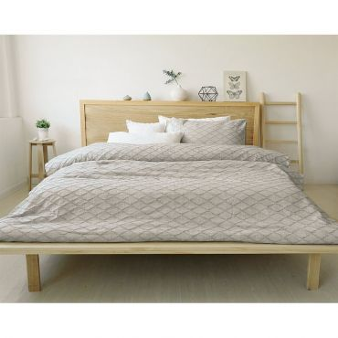 100% cotton, Modern design in grey color.  A duvet cover set includes two pillow shams + 1 duvet cover